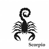 Scorpio Zodiac Sign Astrological Symbol. Horoscope Icon. Isolated Image In Simple Black And White St poster