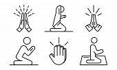 Prayer Icons Set. Outline Set Of Prayer Vector Icons For Web Design Isolated On White Background poster
