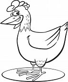 Cartoon Hen Coloring Page