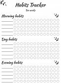 Habit Tracker Template For Every Day And Different Time Of Day. For Filling By Hand. Useful Skills A poster