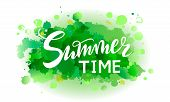 Vector Illustration Summer Time On Abstract Spot Green Watercolor Background. Color Herbal Splashing poster