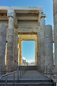 Amazing View Of Propylaea - Monumental Gateway In The Acropolis Of Athens, Attica, Greece poster