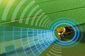 Self Driving, Unmanned, Autonomous Grain Harvester Working In Field - Harvesting Machine Future Conc poster