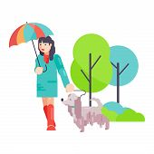 Woman Girl Play With Best Friend Pet Character Dog Or Puppy Illustration. Family Playing With Doggie poster