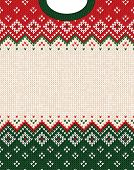 Ugly Sweater Merry Christmas Ornament Scandinavian Style Knitted Background Frame Border poster