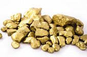 Gold Nuggets On White Background Isolated. High Resolution Photo Of Gold Stones. Concept Of Luxury A poster