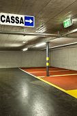 new underground parking, cash sign