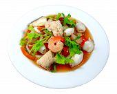 Yum seafood (Thai seafood toast in yum salad dressing)