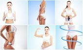 Fit, young and beautiful female body. Fat lose, health, sport, fitness, nutrition, liposuction, heal poster