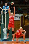KAPOSVAR, HUNGARY - FEBRUARY 3: Karmen Kovacs (red 12) in action at the Hungarian Championship volle
