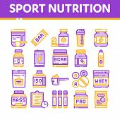 Sport Nutrition Cells Thin Line Icons Set. Sport Nutrition For Sportsmen Linear Pictograms. Dietary  poster