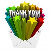 stock photo of appreciation  - An envelope opening to show a burst of stars and the words Thank You to show appreciation for help given or a job well done - JPG