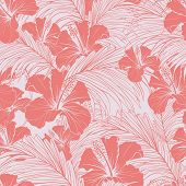 Chinese Rose Vector Seamless Pattern. Blooming Hibiscus And Exotic Palm Tree Foliage Pastel Pink Bac poster