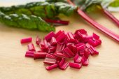 Red stemmed chard cut into pieces close up poster
