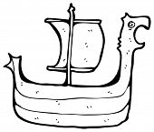 cartoon viking boat