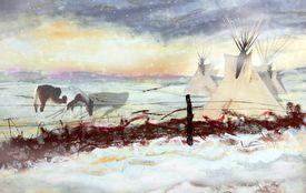 picture of tipi  - Original Illustration of Native American Tipis and Pony - JPG