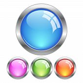 Glassy buttons, vector illustration