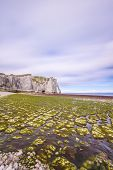 Etretat Aval Cliff Landmark And Its Beach. Normandy, France. poster