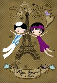 Love in Paris - Cute little couple celebrating their Paris love, doodle-style illustration