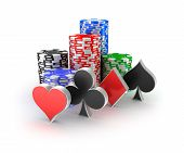 Casino chips with signs in piles isolated on white.