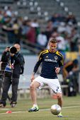 CARSON, CA - APRIL 14: David Beckham warms up before the MLS game between the Los Angeles Galaxy and