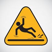 stock photo of accident victim  - Wet floor caution sign - JPG