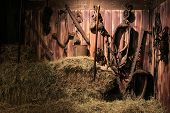 stock photo of pulley  - Barn full of old tools - JPG