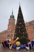 New Year tree at Old Town Square near Royal Castle. Warsaw, Poland