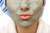 image of mud pack  - Skin firming facial mask for the beauty and healthy skin - JPG