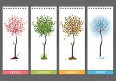 Small tree in 4 different seasons