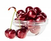 Still life with pair of red wet cherry fruit on stem and glass bowl, isolated on white