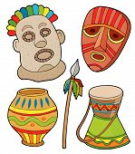picture of african mask  - African tribal collection various objects  - JPG
