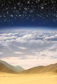 Постер, плакат: Коллаж: пустыня небо облака стратосферы и пространства в одном изображении