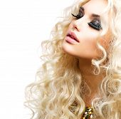stock photo of perm  - Beauty Girl With Healthy Long Curly Hair - JPG