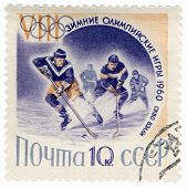 Ice Hockey On Post Stamp