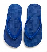 A pair of blue flipflops on a white background