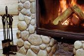 Rustic Wood-burning Fireplace