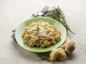 integral risotto with ginger rosemary  parmesan  and gorgonzola cheese