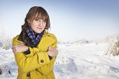 Cute Woman Shivering on a cold winter day