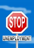 Traffic sign stop unemployment on blue background