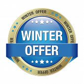 Winter Offer Button Blue Gold