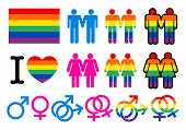 stock photo of gay symbol  - Gay pictogrammes with flag - JPG