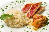 picture of mullet  - white dish with rice with red mullet and seafood - JPG