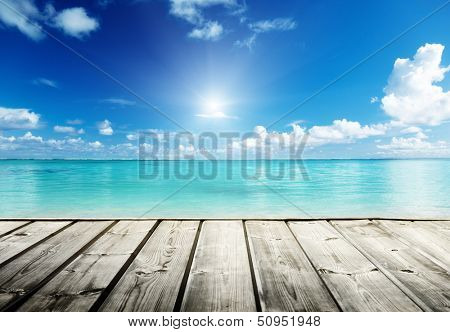 Caribbean sea and wooden platform poster