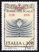 ITALY �?�¢?? CIRCA 1978: a stamp printed in Italy shows illustration of  La Scala theatre, famous opera house in Milan. Italy, circa 1978