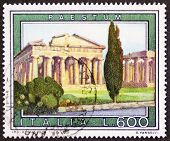 ITALY �?�¢?? CIRCA 1978 a stamp printed in Italy shows an illustration of Paestum, major Graeco-R