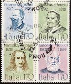 ITALY �?�¢?? CIRCA 1978: a block of four stamps printed in Italy shows portraits of  famous Italians: King Vittorio Emanuele, Pope Pio IX, Marcello Malpighi and Antonio Meucci. Italy, circa 1978