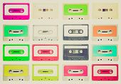 stock photo of magnetic tape  - Vintage looking Set of magnetic tape cassettes for audio music recording  - JPG