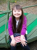 image of playgroup  - Portrait of beautiful young girl on the playground - JPG