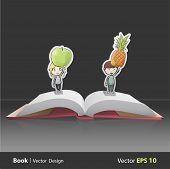 image of pop up book  - Kids holding fruits inside pop - JPG